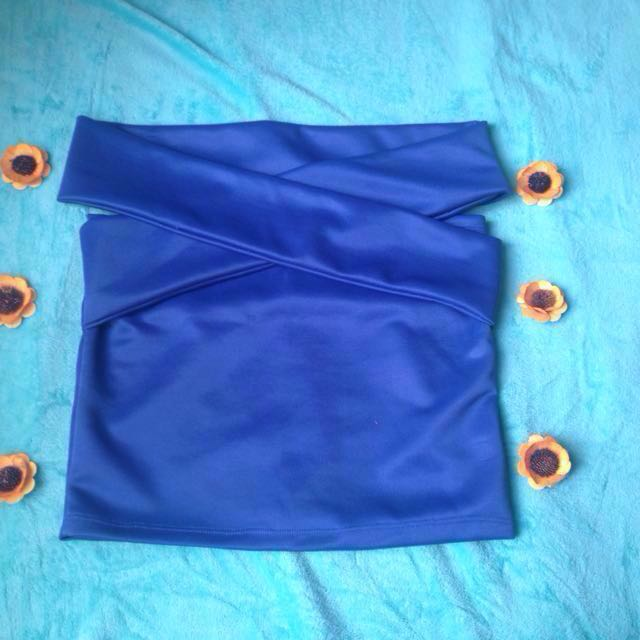 Royal blue criss-cross Top