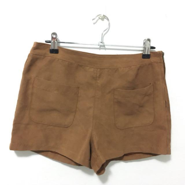 Shorts-suede look-Tan colour