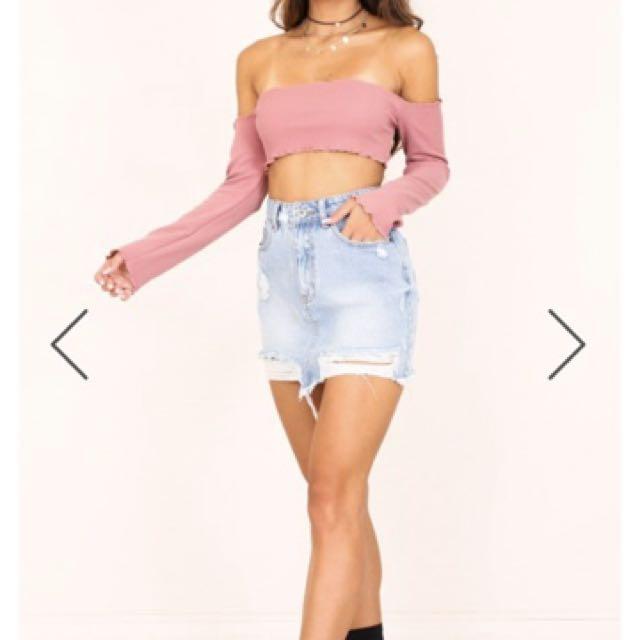 Show po denim ripped skirt size 10