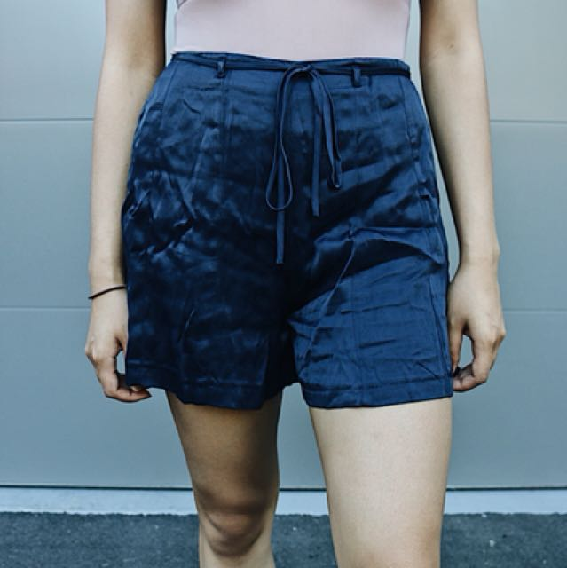 Silky navy blue high waisted shorts front tie