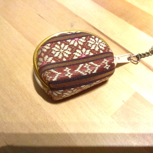 Small purse key chain from textile