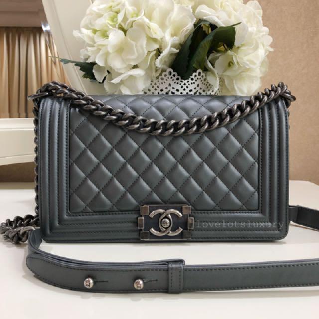 9f472de9ddd6 (SOLD) 🖤 Kept Unworn Chanel Boy Old Medium in Dark Grey Calf Leather with  Ruthenium Hardware, Luxury, Bags & Wallets on Carousell