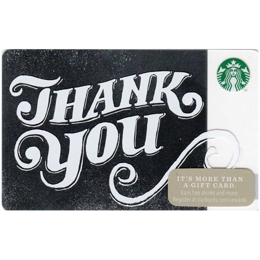 Starbucks Thank You Scripted Card Tickets Vouchers