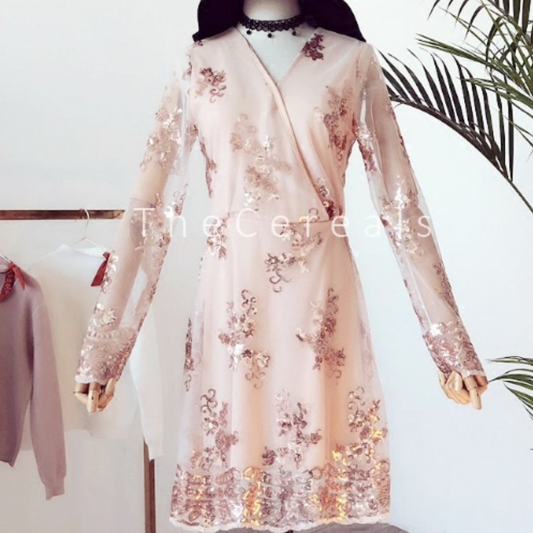 TC1795 Korea Glitters Embroidered Pink Glam Dress