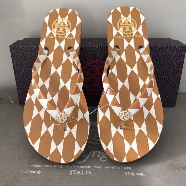Tory Burch Diamond Tile Thin Flip Flops Size 7