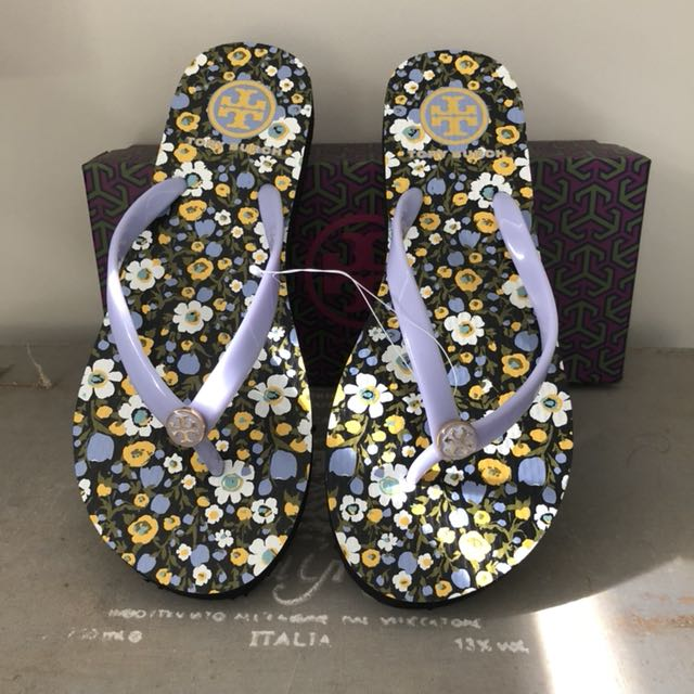 Tory Burch Floral Thin Flip Flops Size 6