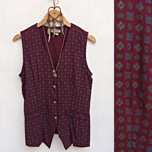 Vintage Burgundy Buttondown Sleeveless Top