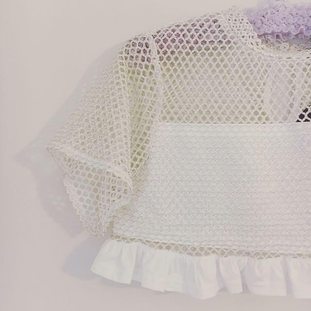 White Cream & Gold Thread Mesh Net Mini Crop Top