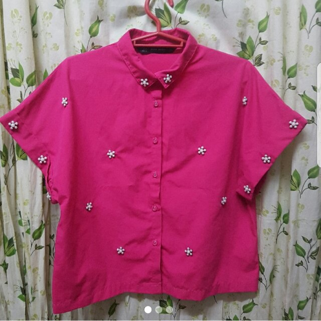 Zara top pink with pearls