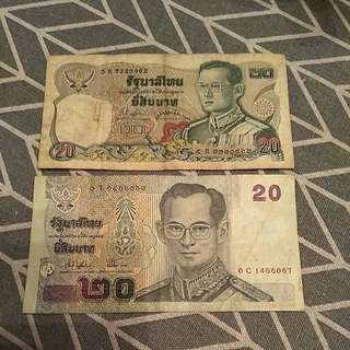 Thailand 20 Baht Notes x 2pcs