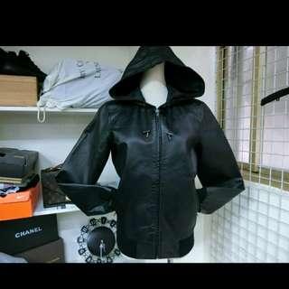 Wam XS號 連帽皮衣 抽繩 前拉鍊豚皮 真皮萬元皮衣便宜賣