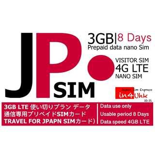 8日無限數據 NTT docomo 4G首3GB LTE  日本上網卡 電話卡咭 WIFI data機蛋 免開通