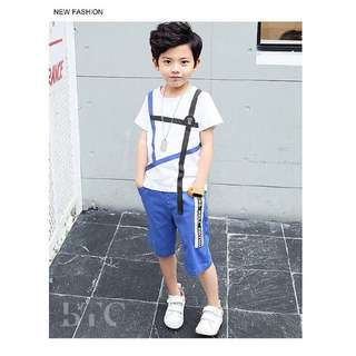 [READY STOCK] Boys' Stylish Stripe T-shirt + Pants