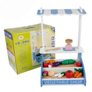 BN Wooden Vegetable Shop Display Cart Set