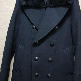 Burberry Black Label Peacoat with rabbit fur trim
