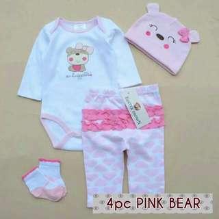 4pc Pink Huggable Bear Set