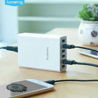 Lumsing 60W 5V 6-Port USB Desktop Charger Charging Intelligent Control Chipset Multi Travel Power for all your USB devices like smart phones and all other USB powered device.