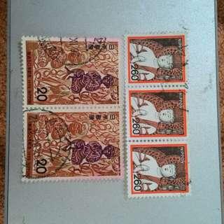 🚚 日本郵票舊票五張