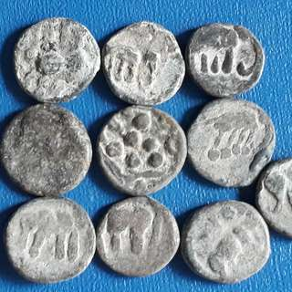 10 LEAD COINS LOT - ISHAVAKU DYNASTY - Elephant -  Ancient Andhra Pradesh india - More than 1,000 Years Old Coin