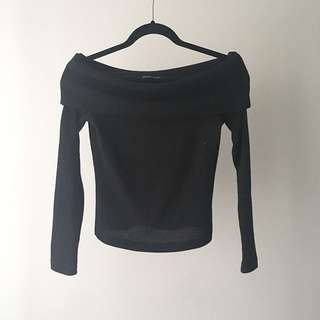 Zara Black Off the Shoulder Sweater