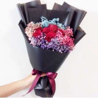 Red Rose Bouquet with Baby Breath