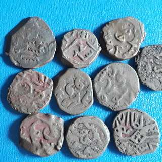 10 COINS LOT - Islamic KASHMIR SULTANATE - Copper Kaserah - india - more than 600 Years Old Coin
