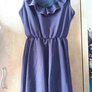 韓版挺布紫色蕾絲荷葉邊連身洋裝