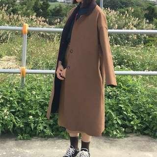Korea 不修邊內鋪毛雙釦大衣