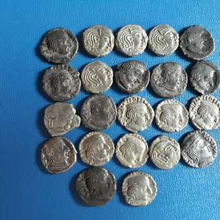 22 COINS LOT - India (ancient) - Ksahtrap Dynasty - Drachm (35-405)  Silver Coin - more than 1500 Years Old Coin