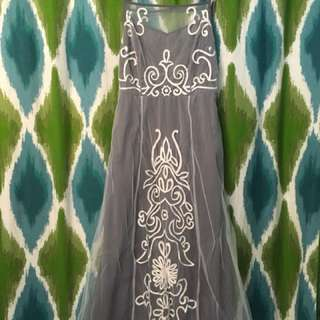 eShakti embroidered grey dress