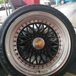Bbs rs 16 inch sports rim vios tyre 70%