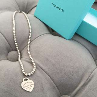 Tiffany Silver Beaded Necklace with heart pendant.