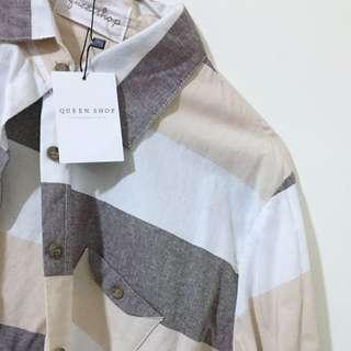 🚚 Queen Shop卡其條紋襯衫