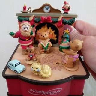 古董聖誕音樂小擺設精品(公仔可轉動)
