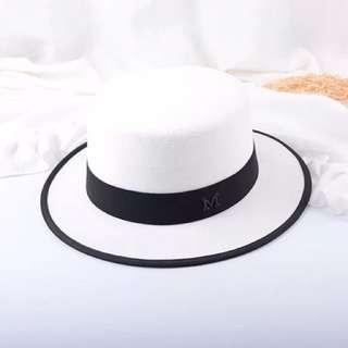 🚚 英倫風黑白簡約毛呢禮帽