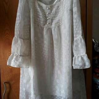 日系品牌雪紡白連身洋裝