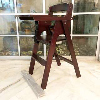 🆕 SOLID WOODEN BABY HIGH CHAIR - WALNUT