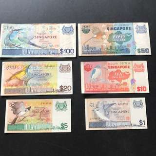 Bird Series Singapore Currency Note