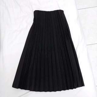 全新 黑色百褶長裙