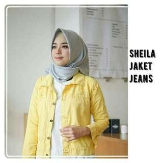 Sheilla jacket jeans yellow matt : jeans halus all size