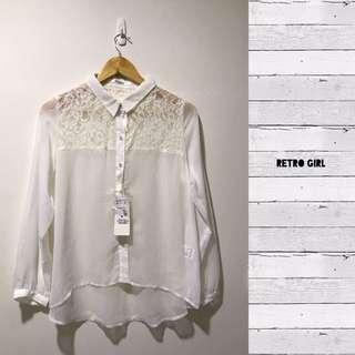 Retro Girl 白色雪紡襯衫