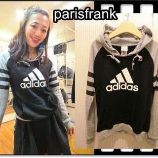 parisfrank~~品牌Adidas 正品 灰黑色 經典配色 好搭年輕 口袋帽T(S號)