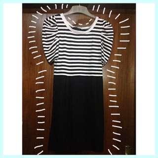 Icons Black & White Stripes Midi Dress