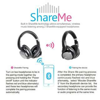 Mixcder ShareMe 5 Bluetooth V4.1+EDR Over-ear Headphones Wireless Advanced Stereo Foldable Headsets with Mic - Black