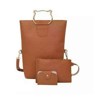 韓版貓咪手提折疊三件組-棕色(Brown)