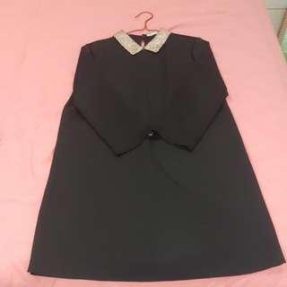 ZARA TRF Black Glitter Collar Dress