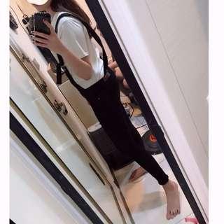 黑色吊帶長褲
