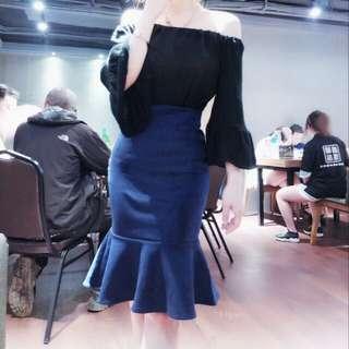 韓版高腰麂皮仿牛仔魚尾裙