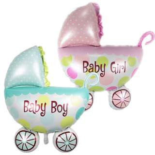 Baby shower girl/baby boy pram foil balloon(58 x 60cm)
