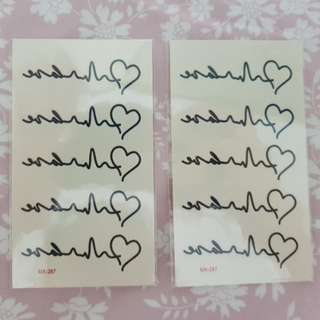 Temporary heartbeat Tattoo